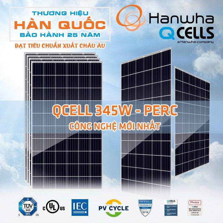 Tấm Pin Năng Lượng Mặt Trời Hanwha Qcell 345W